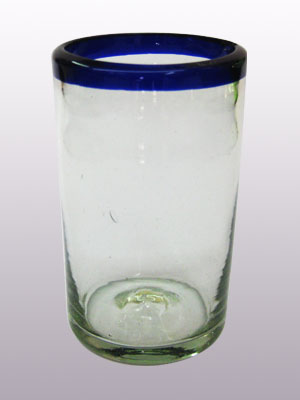 Wholesale MEXICAN GLASSWARE / Mexican Blown Glass Drinking Glasses Cobalt Blue Rim 14oz each  / These handcrafted glasses deliver a classic touch to your favorite drink.<br>1-Year Product Replacement in case of defects (glasses broken in dishwasher is considered a defect).<br>WARNING: Avoid buying Counterfeit Products; MexHandcraftDotCom is the only one authorized to sell authentic MexHandcraft products.